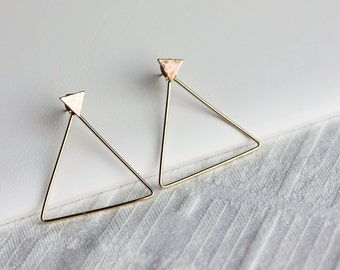 Solid Triangle Ear Jacket Earrings,Gold Ear Jacket, Double Sided Earrings,Geometric earrings,Gift for her,Gift for wife,gift for girlfriend