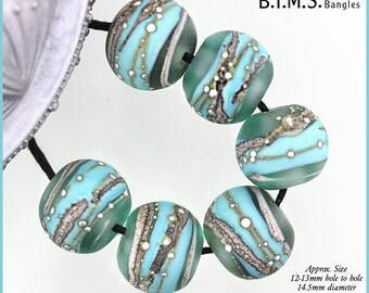 Lampwork Beads, 6 Etched Transparent/Opaque Turquoise Murano Glass Bead w/Silvered Ivory Stringer & Silver Wire, Made to Order, Bims Bangles