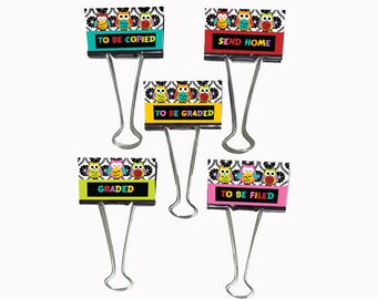 "Teacher Gift Organizer Personalized Binder Clips 2"" wide Owls All in A Row Organizer Words"