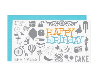 Happy Birthday Collage Enclosure Gift Card