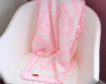 FREE SHIPPING Pink & White Crochet Baby Blanket - Granny Square - Crochet Afghan - Lap Blanket - Pram Stroller Blanket - Sofa Throw 39 x 39
