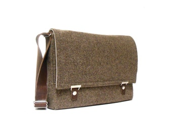 "11"" / 13"" MacBook Air messenger bag - brown tweed"