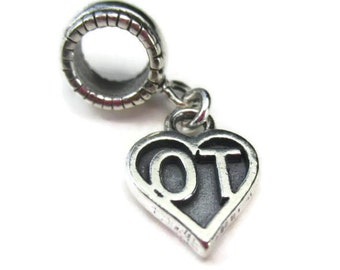Occupational Therapy Charm Sterling Silver OT Charm Bead for European Bracelets Graduation Gift