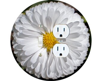 White Daisy Flower Toggle Switch and Duplex Outlet Double Plate Cover