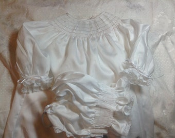 Ready to Smock Satin Batiste Infant Daygown and Bonnet Made to Order 100% cotton