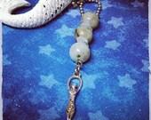 ON SALE Sea Goddess, Aquamarine and Sesame Jasper Necklace
