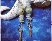 ON SALE Sesame Jasper and Aquamarine, Goddess Gemstone Earrings