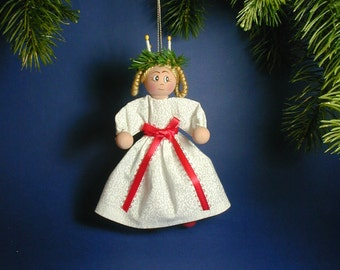 St Lucia Clothespin Doll Ornament; Swedish St Lucia Ornament; Peggy Spackman's Clothespin Cuties