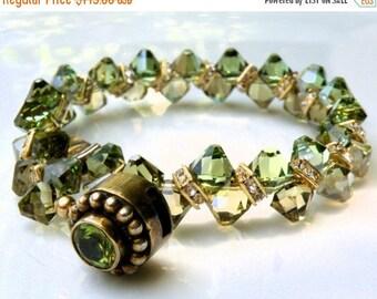 Olive Green Tennis Bracelet, Swarovski Crystal, Deep Peridot Green, Bridal Wedding Jewelry, Mother of the Bride, August Birthstone Handmade