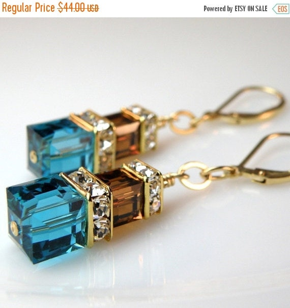 Teal and Chocolate Earrings, Teal Blue and Brown Jewelry Gold Filled Swarovski Cube Dangle Custom Bridesmaid Handmade Jewelry Autumn Wedding