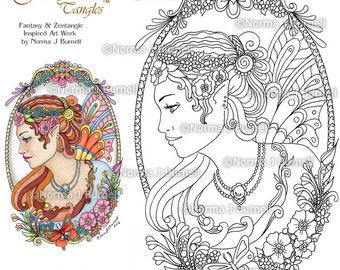 Cameo Fairy And Flowers Tangles Adult Printable Coloring Book Pages By Norma J Burnell