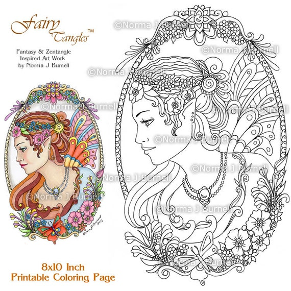 Cameo Fairy And Flowers Tangles Adult Printable Coloring Book Pages By Norma J Burnell Sheets Fairies To Color