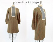 60s Mod Dress Small / 1960s Vintage Houndstooth Wool Shift Dress / Molly Mod Dress