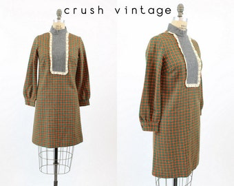 60s Mod Dress Small / 1960s Vintage Houndstooth Wool Shift Dress / Molly Mod Dress