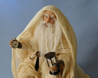 Father Time Druid Wizard One of a Kind direct Sculpture Artist Doll Polymer clay Cernit by Artist Stevi T mythical Character