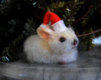 Miniature White Snow Bunny Rabbit  w Christmas red hat Artist OOAK Alpaca Needle Felted Sculpture