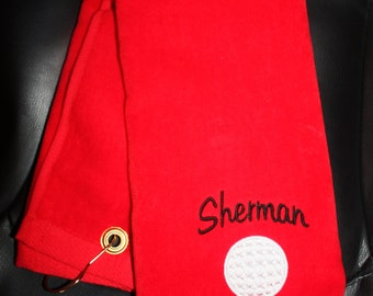 Embroidered Personalized HEMMED Golf Towel with Grommet- Golf Ball