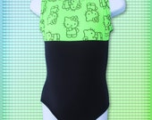 Gymnastics Leotard for girls size Child 2 4 6 8 10 black lime green Hello Kitty®  design Bounce Brand New Youth tank leo