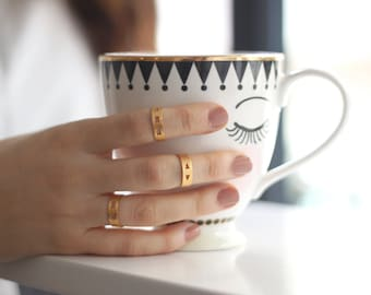 Special Offer-Set of 3 Tiny Knuckle Rings-Geometry Collection-Handcrafted Gold Plated Brass