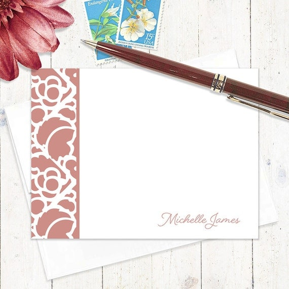 personalized stationery set flat note cards - STENCIL BORDER - set of 12 - personalized stationary