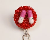 Pharmacy Technicians Take A Pill In Red ID Badge Reel - Retractable ID Badge Holder - Zipperedheart