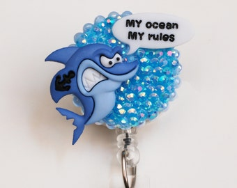 Boss Shark ID Badge Reel - Retractable ID Badge Holder - Zipperedheart