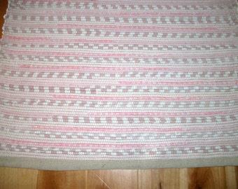 Rag Rug 25 inch Pink Cotton Rag Rug Recycled Rag Rug Upcycled Rag Rug Hand Loomed Rag Rug Woven Rag Rug