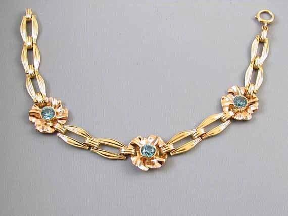 Vintage Retro Moderne 14k gold genuine blue zircon bracelet signed Church and Company