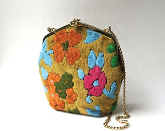 60s vintage Colorful Floral Carpet Bag with Gold Metal Chain Strap / Hippie Floral Carpet Bag / Boho Floral Carpetbag / Mod Flower Power Bag