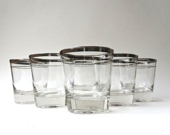 Mid Century vintage Double Silver Band Low Ball Glasses / Mid Century Barware / Set of 6
