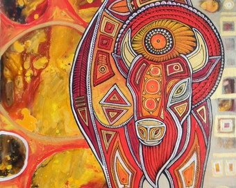 Original Abstract / Tribal Bison Painting by Lynnette Shelley