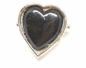 Heart Shaped Vintage Lucite Black Ring Silver tone Adjustable