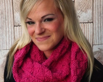 Pink Infinity Cowl - Textured Infinity Scarf - Raspberry Pink Chunky Cowl - Winter Cowl - Pink Knit Cowl - Winter Scarf - Winter Accessory