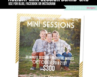 Holiday Mini Session Template - Christmas Minis - Photography Marketing board - INSTANT DOWNLOAD - Gold Foil - Blog Facebook Instagram Ready