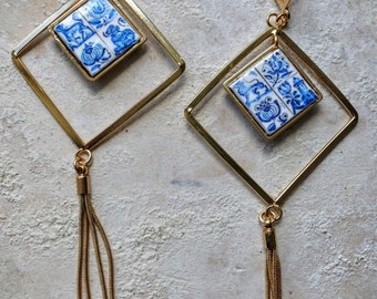 Portugal Lisbon Delft Blue Antique Tile Replica Earrings - square with fringe - Pasteis de Belem founded in 1837
