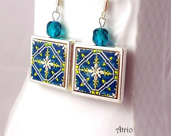 Silver Earrings Portugal Tile Portuguese Antique FRAMED - ARADA - Green (see photo of actual Facade)  Waterproof - reversible Gift Box 466a