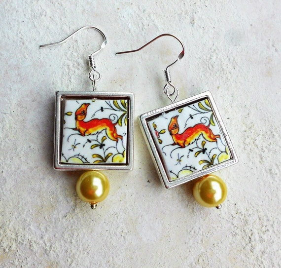 SILVER EARRINGS Coimbra Portugal 17th Century Pottery Replica 925 Framed with Whimsical Deer,  Waterproof and Reversible - Gift Boxed 737
