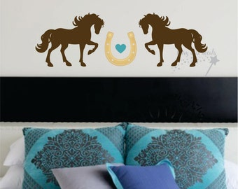 Horse wall decal - stallion - vinyl wall decoration with two horses heart horseshoe - love horses wall decal for bedroom - new horse design