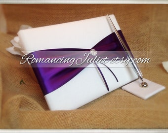 Custom Colors Sash Style Wedding Guest Book and Pen Set with Vibrant Rhinestone Accent...You Choose the Colors.... shown in white/eggplant