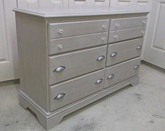 Double Dresser, Distressed Gray Cottage Style - DR602 Shabby Chippy Farmhouse Chic