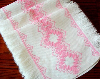 3 Piece Vintage Swedish HUCKWEAVE DOILIES Pink on White 1960's Chair Set Antimacassar Huck Weave Embroidery Needlework Weaving Fringe