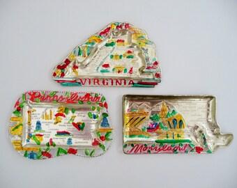 Vintage Metal US State Souvenir Trays - Lot 3, Virginia, Pennsylvania, Maryland - Dime Store Kitsch