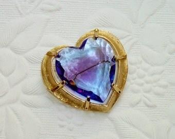 Vintage Glass Heart Brooch - Blue Purple Color - Signed STAR 1950's