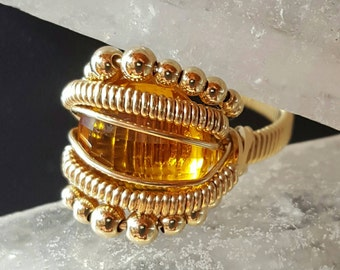 14kgf Citrine Checkerboard Faceted Wire Wrap Ring