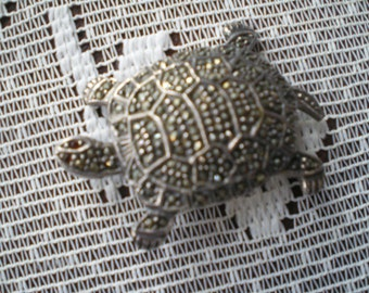 1980s Sterling Marcasite Turtle Pin