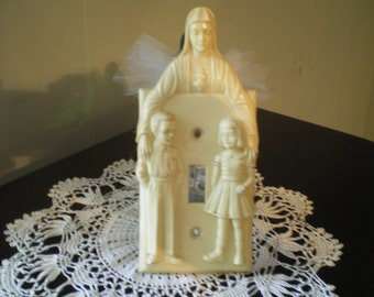 1950s Acrylic Cream Colored Switch Plate Virgin Mary and Boy and Girl