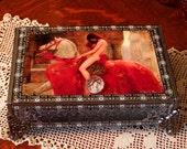 LADY GODIVA // Boudoir Dresser Box // John Collier Image // Treasures Jewelry // Pre-Raphaelite // Altered Cigar Box