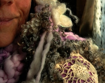 hand knit scarf soft fantasy art yarn scarf -  soft dreamer