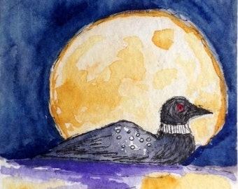 Original watercolor ACEO Art Card, Loon and Moon, Pond