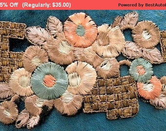 Surprise SALE - Vintage Silk Applique Metallic Flapper Trim